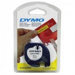 Dymo originál páska do tlačiarne štítkov, Dymo, 59421, S0721500, čierny tlač/biely podklad, 4m, 12mm, LetraTag páska