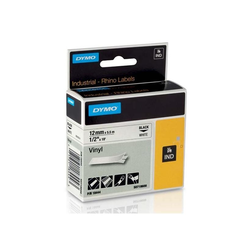 Dymo originál páska do tlačiarne štítkov, 18444, S0718600, čierny tlač/biely podklad, 5.5m, 12mm, RHINO vinylová