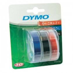 Dymo originál páska do tlačiarne štítkov, S0847750, biely tlač/čierny, modrý, červený podklad, 3m, 9mm, 1 blister/3 ks