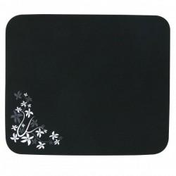 Podložka pod myš, Flower edition, mäkký povrch, čierna, 24x22 cm, Logo 33046