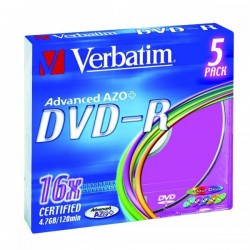 Verbatim DVD-R, 43557, DataLife PLUS, 5-pack, 4.7GB, 16x, 12cm, General, Advanced Azo+, slim box, Colour, bez možnosti potlače