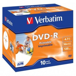 Verbatim DVD-R, 43521, DataLife PLUS, 10-pack, 4.7GB, 16x, 12cm, General, Advanced Azo+, jewel box, Wide Printable