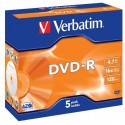 Verbatim DVD-R, 43519, DataLife PLUS, 5-pack, 4.7GB, 16x, 12cm, General, Advanced Azo+, jewel box, Scratch Resistant
