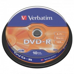 Verbatim DVD-R, 43523, DataLife PLUS, 10-pack, 4.7GB, 16x, 12cm, General, Advanced Azo+, cake box, Scratch Resistant