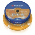 Verbatim DVD-R, 43522, DataLife PLUS, 25-pack, 4.7GB, 16x, 12cm, General, Advanced Azo+, cake box, Scratch Resistant