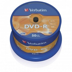 Verbatim DVD-R, 43548, DataLife PLUS, 50-pack, 4.7GB, 16x, 12cm, General, Advanced Azo+, cake box, Scratch Resistant