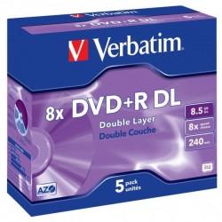 Verbatim DVD+R, 43541, DataLife PLUS, 5-pack, 8.5GB, 8x, 12cm, General, Double Layer, jewel box, Scratch Resistant