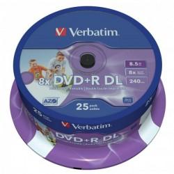 Verbatim DVD+R, 43667, DataLife PLUS, 25-pack, 8.5GB, 8x, 12cm, General, Double Layer, cake box, Wide Printable
