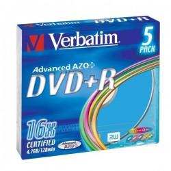 Verbatim DVD+R, 43556, DataLife PLUS, 5-pack, 4.7GB, 16x, 12cm, General, Advanced Azo+, slim box, Colour, bez možnosti potlače