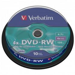 Verbatim DVD-RW, 43552, DataLife PLUS, 10-pack, 4.7GB, 4x, 12cm, General, Serl, cake box, Scratch Resistant