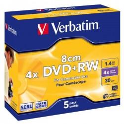 Verbatim DVD+RW, 43565, DataLife PLUS, 5-pack, 1.46GB, 4x, 8cm, Mini, General, ScratchGuard, jewel box, Matte hardcoated
