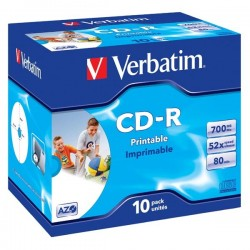 Verbatim CD-R, 43325, DataLife PLUS, 10-pack, 700MB, Super Azo, 52x, 80min., 12cm, Wide Printable, jewel box