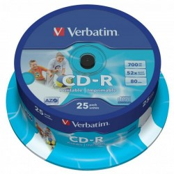 Verbatim CD-R, 43439, DataLife PLUS, 25-pack, 700MB, Super Azo, 52x, 80min., 12cm, Wide Printable, cake box