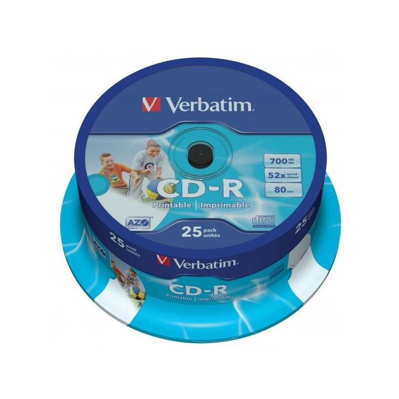 Verbatim CD-R, 43439, DataLife PLUS, 25-pack, 700MB, Super Azo, 52x, 80min., 12cm, Wide Printable, cake box