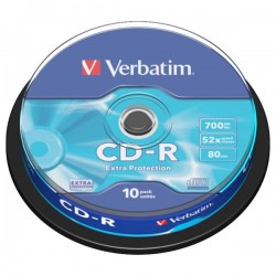 Verbatim CD-R, 43437, DataLife, 10-pack, 700MB, Extra Protection, 52x, 80min., 12cm, cake box