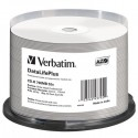 Verbatim CD-R, 43745, DataLife PLUS, 50-pack, 700MB, 52X, 80min., 12cm, Wide Inkjet Professional, Printable
