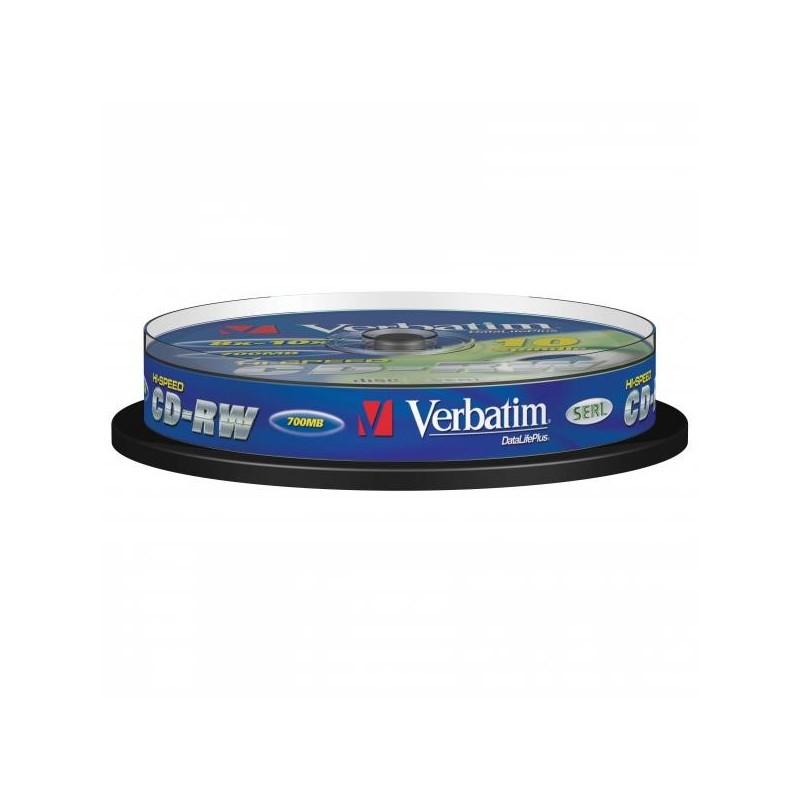 Verbatim CD-RW, 43480, DataLife PLUS, 10-pack, 700MB, Advanced Serl, 8-12x, 80min., 12cm, Scratch Resistant