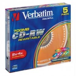 Verbatim CD-RW, 43133, DataLife PLUS, 5-pack, 700MB, Serl, 2-4x, 80min., 12cm, Color, slim box, Color