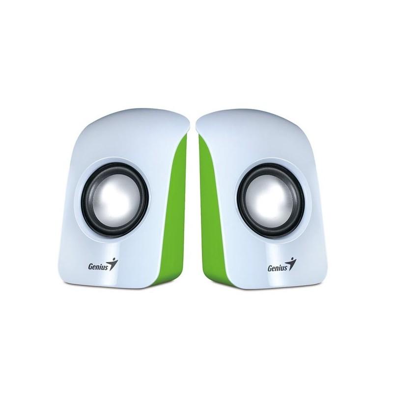 Genius reproduktory SP-U115, 2.0, 3W, ovládanie hlasitosti, bielo-zelená, stolová, USB+3.5mm konektor200Hz-18kHz 31731006103