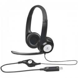 Logitech, Stereo H390, slúchadlá s mikrofónom, ovládanie hlasitosti, čierna, USB konektor 981-000406