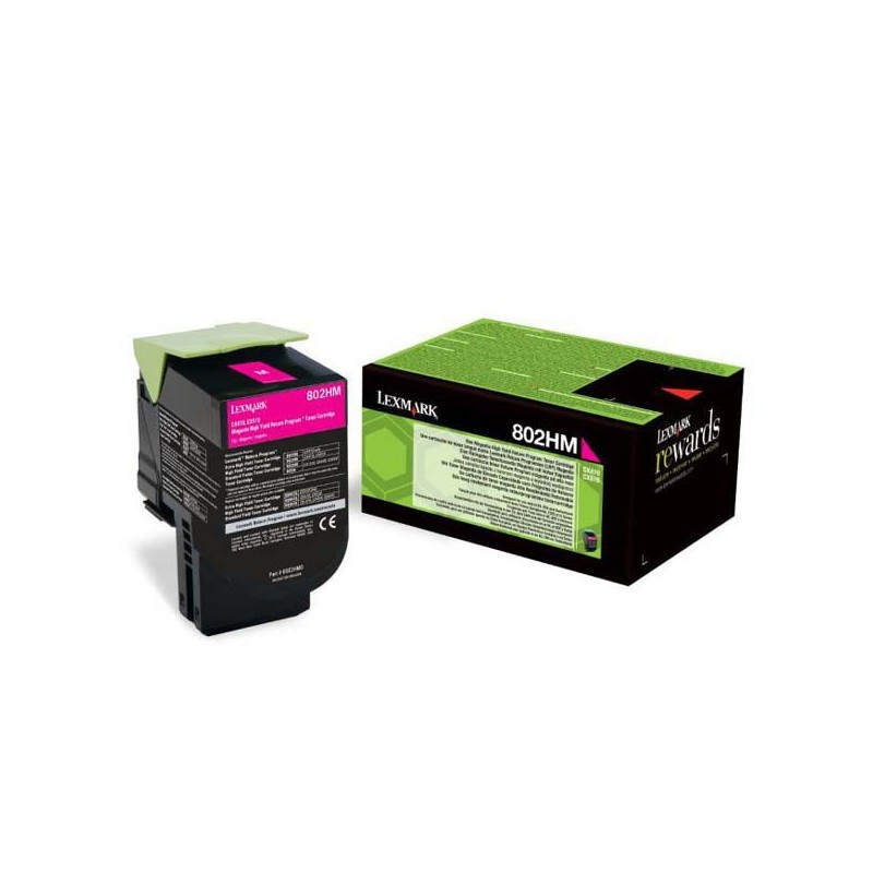 Lexmark 802HM CX410, CX510, Magenta High Yield Return Program Toner Cartridge 3k 80C2HM0