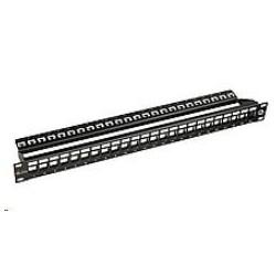 Solarix 10G modulární neosazený patch panel 24 portů STP černý 1U...