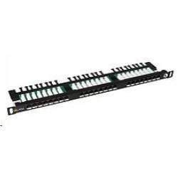Solarix Patch panel 24xRJ45 CAT5E UTP s vyvazovací lištou černý...