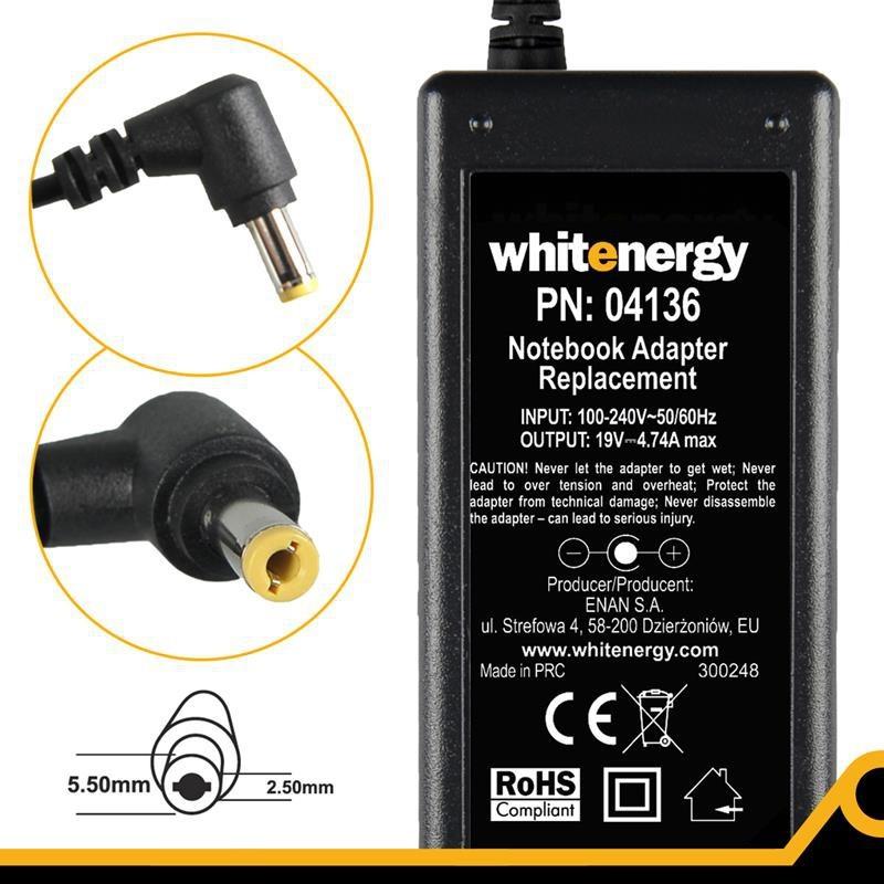 Whitenergy napájecí zdroj 19V/4.74A 90W konektor 5.5x2.5mm 04136 neoriginálne