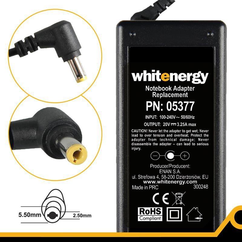 Whitenergy napájecí zdroj 20V/3.25A 65W konektor 5.5x2.5mm 05377