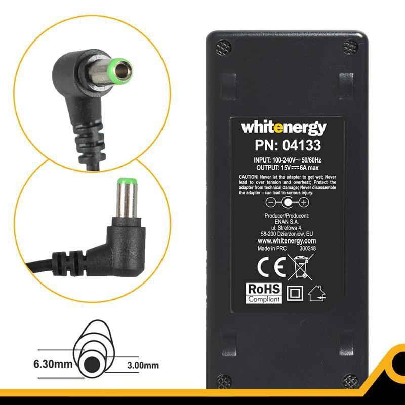 Whitenergy napájecí zdroj 15V/6A 90W konektor 6.3x3.0mm Toshiba 04133