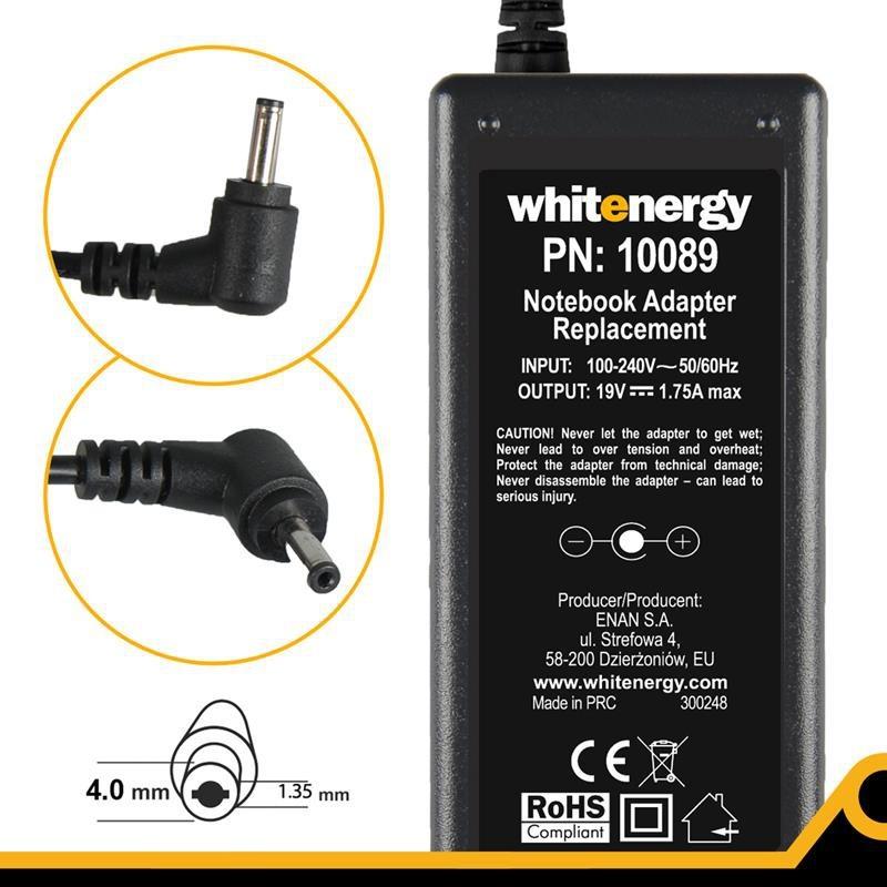 Whitenergy napájecí zdroj 19V/1.75A 33W konektor 4.0x1.35mm 10089