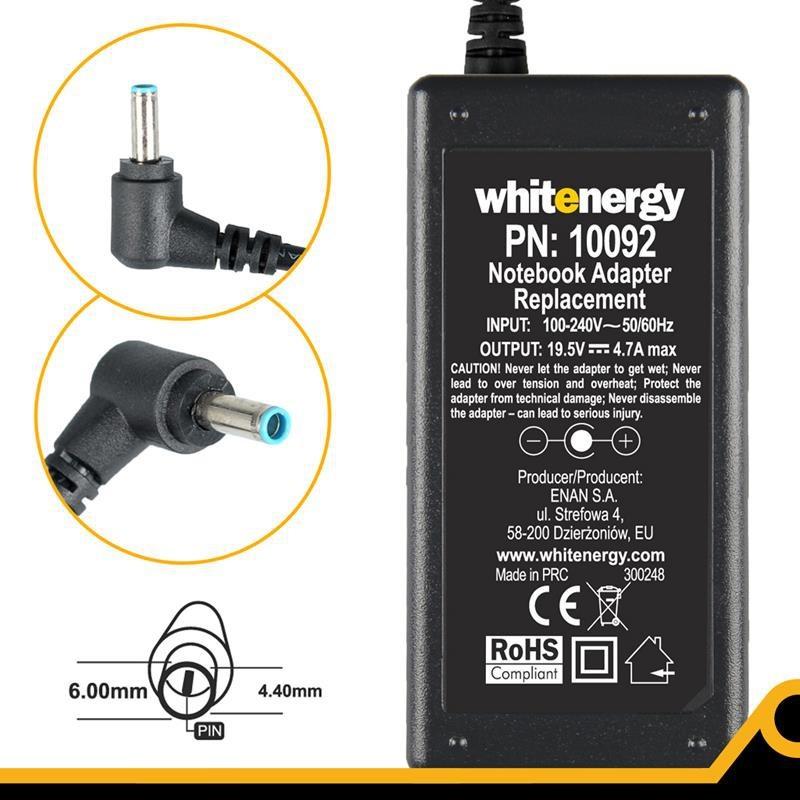 Whitenergy napájecí zdroj 19.5V/4.7A 90W konektor 6.0x4.4x9.5mm 10092