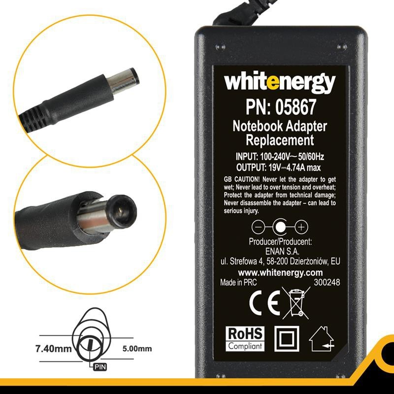 Whitenergy napájecí zdroj 19V/4.74A 90W konektor 7.4x5.0mm + pin HP Compaq 05867