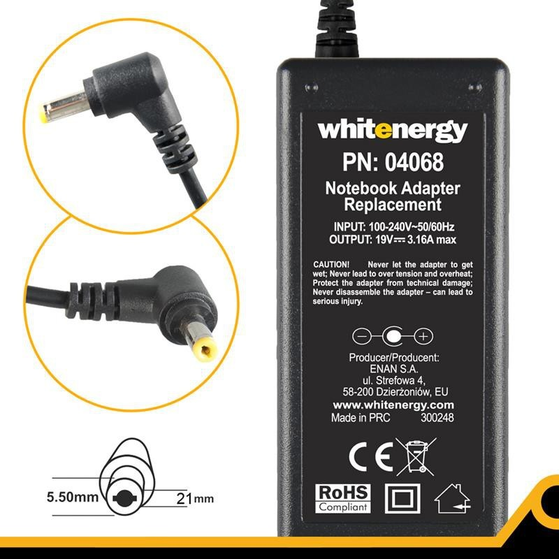Whitenergy napájecí zdroj 19V/3.16A 60W konektor 5.5x2.1mm 04068