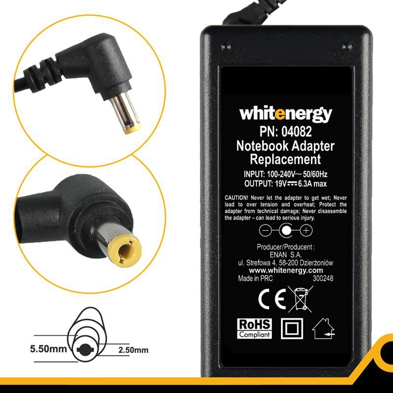 Whitenergy napájecí zdroj 19V/6.3A 120W konektor 5.5x2.5mm 04082