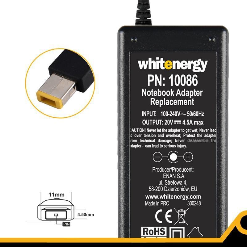 Whitenergy napájecí zdroj 20V/4.5A 90W konektor 11x4.5x0.6mm 10086