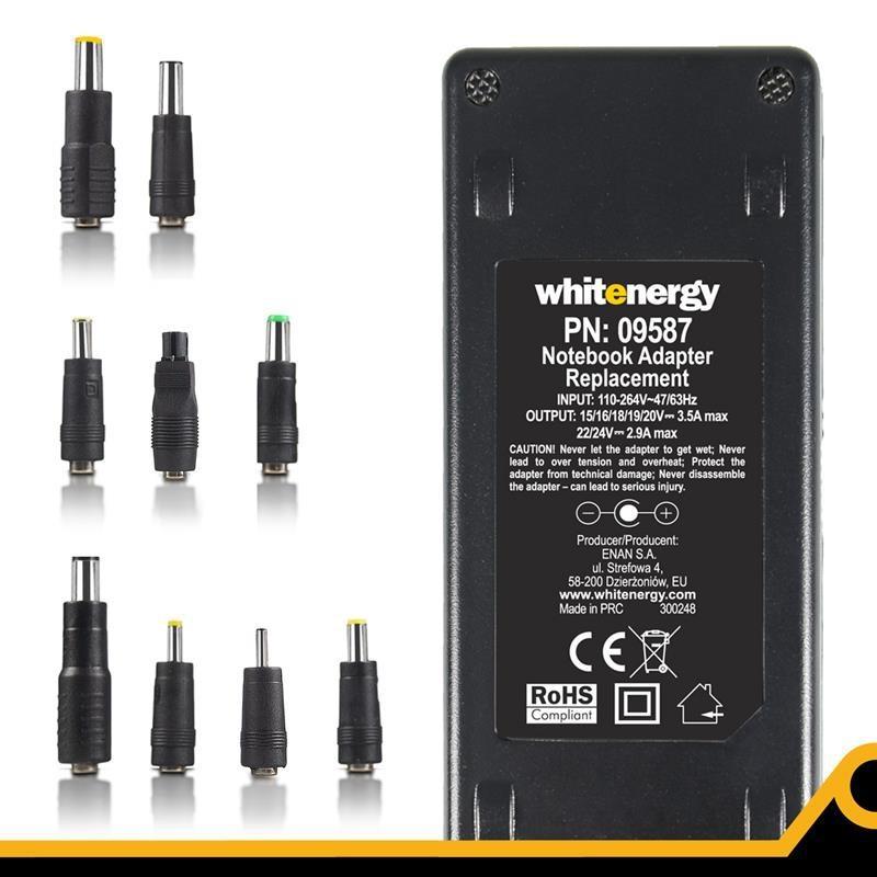 Whitenergy 15-24V, 70W AC univerzálny napájací zdroj pre notebooky, USB 09587