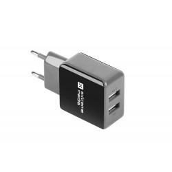 Universální nabíječka Natec 2,1A, 2x USB, černo-šedá NUC-0995