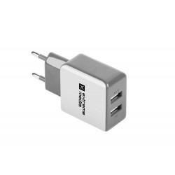 Universální nabíječka Natec 2,1A, 2x USB, bílo-šedá NUC-0996