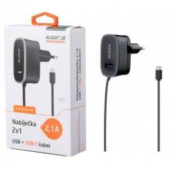 ALIGATOR nab. USB-C s USB výst 5V/2,1A, černá CDP0073
