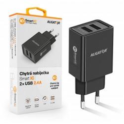 ALIGATOR Chytrá síťová nabíječka 2,4A, 2xUSB, smart IC, černá CHA0029