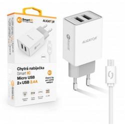 ALIGATOR Chytrá síťová nabíječka 2,4A, 2xUSB, smart IC, bílá, micro...