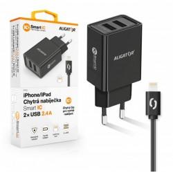 ALIGATOR Chytrá síťová nabíječka 2,4A, 2xUSB, smart IC, černá, USB...