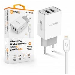 ALIGATOR Chytrá síťová nabíječka 2,4A, 2xUSB, smart IC, bílá, USB...