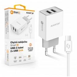 ALIGATOR Chytrá síťová nabíječka 2,4A, 2xUSB, smart IC, bílá, USB-C...