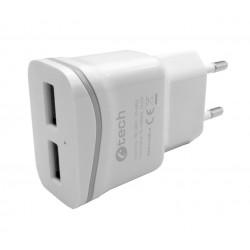Nabíječka USB C-TECH UC-03, 2x USB, 2,1A, bílá UC-03W