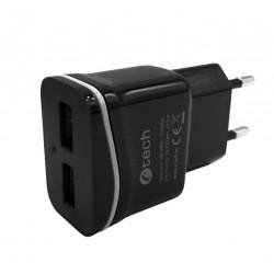 Nabíječka USB C-TECH UC-03, 2x USB, 2,1A, černá UC-03BK
