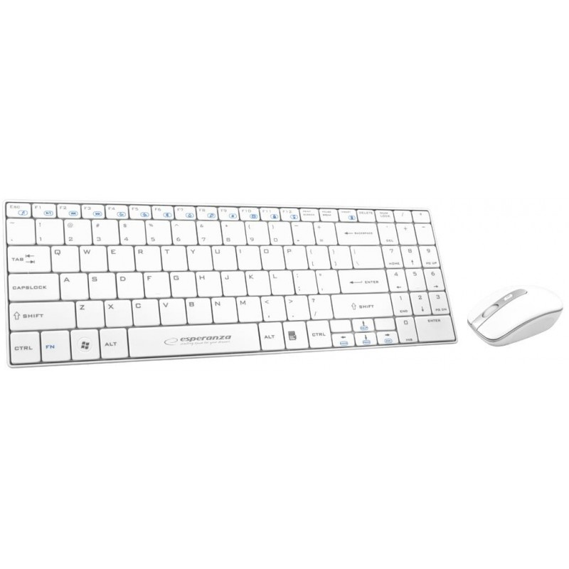 Esperanza EK122W bezdrôtová klávesnica, nízkoprofilová, US + myš, 2.4GHz, biela EK122W - 5901299901991