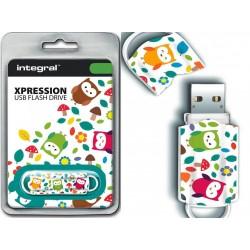 Integral USB Flash Drive Xpression 16GB USB 2.0 - Birds INFD16GBXPRBIR
