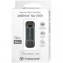 Transcend JetDrive Go flashdisk 64GB, USB 3.1, Lightning konektor, čierny TS64GJDG300K